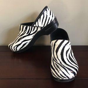 Dansko Zebra Print Clogs